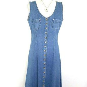 Vintage Old Navy Denim Jumper Long Maxi Dress S/M